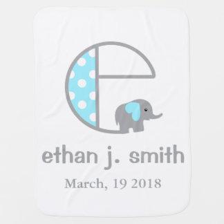 Baby Boy Elephant Blue Polka Dot Blanket Initial C Swaddle Blankets