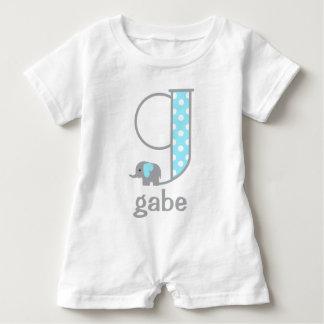 Baby Boy Elephant Blue Polka Dot Jumper Monogram g Baby Romper