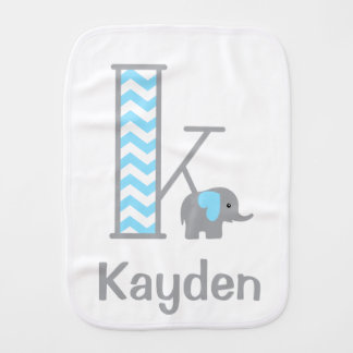 Baby Boy Elephant Chevron Burp Cloth Monogram K