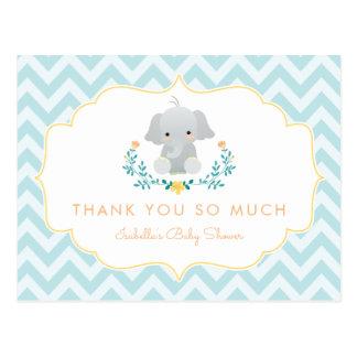 Baby Boy Elephant | Cute Baby Shower Thank You Postcard