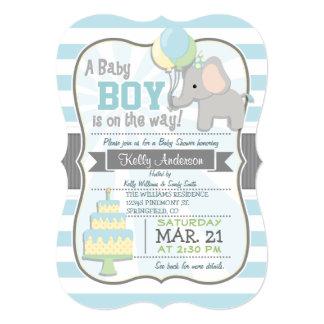 "Baby Boy Elephant, Jungle Animal Baby Shower 5"" X 7"" Invitation Card"