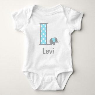 Baby Boy Elephant Polka Dot Boy Bodysuit Initial L