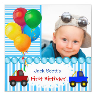 "Baby Boy First Birthday 1st Colorful 5.25"" Square Invitation Card"