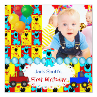 """Baby Boy First Birthday 1st Colorful Puppy dogs 5.25"""" Square Invitation Card"""
