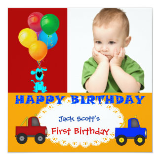 """Baby Boy First Birthday 1st Colorful Puppy Trucks 5.25"""" Square Invitation Card"""