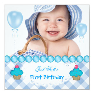 """Baby Boy First Birthday 1st Cupcakes Blue 5.25"""" Square Invitation Card"""