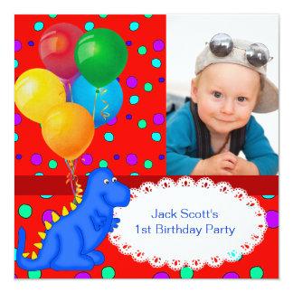 "Baby Boy First Birthday 1st Dinosaur 5.25"" Square Invitation Card"