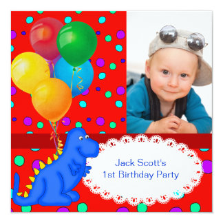 Baby Boy First Birthday 1st Dinosaur 5.25x5.25 Square Paper Invitation Card