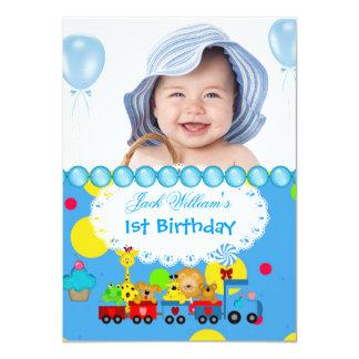 Baby Boy First Birthday 1st Train Blue Custom Announcement