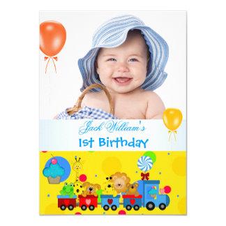 "Baby Boy First Birthday 1st Train Blue Yellow 4.5"" X 6.25"" Invitation Card"