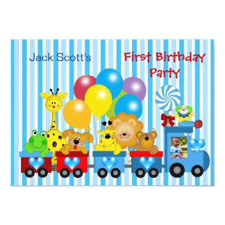 "Baby Boy First Birthday 1st Train Photo Animals 4.5"" X 6.25"" Invitation Card"