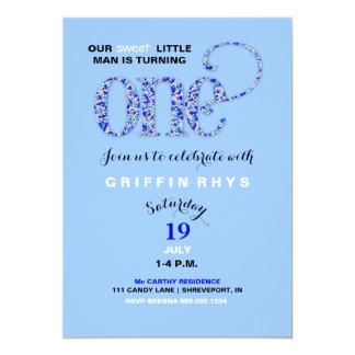 "Baby Boy First Birthday Blue Sprinkles 5"" X 7"" Invitation Card"