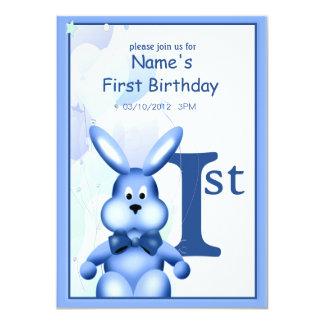 Baby Boy First Birthday Cute Bunny Invitation