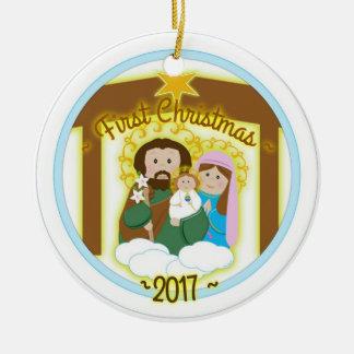 Baby Boy First Christmas Ceramic Ornament