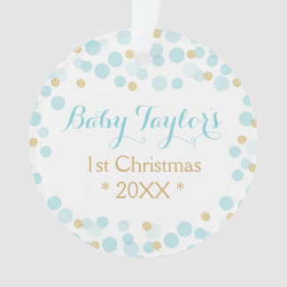 Baby Boy First Christmas Ornament, Blue Gold Dots Ornament
