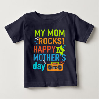 Baby Boy First Mother's Day Shirt My mom Rocks
