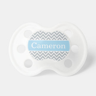 Baby Boy First Name   Blue Gray Chevron Baby Pacifiers