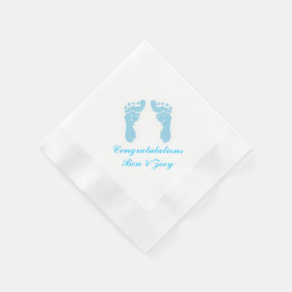 """Baby Boy Footprints"" Paper Napkins"