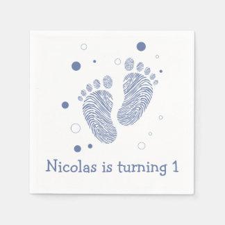 Baby boy footsteps napkin
