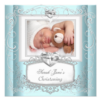 Baby Boy Girl Blue Christening Baptism Cross White Personalized Invites