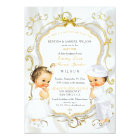 Baby Boy & Girl Twins Baptism Christening Gold Card