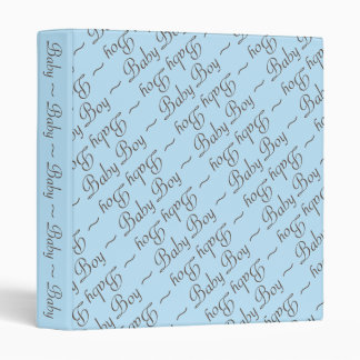 Baby Boy in Brown-Gray Text on Blue Baby Book Binder