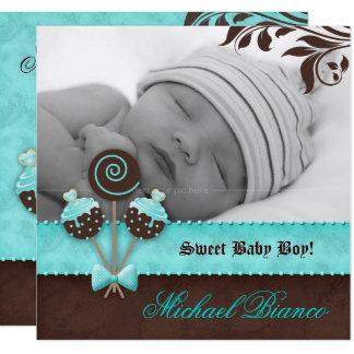 Baby Boy Invitation Announcement Cake Pops Blue