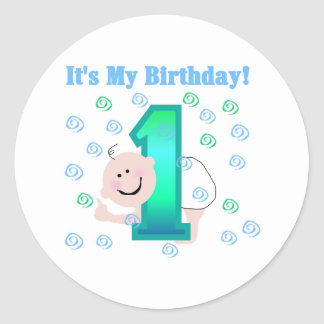 Baby Boy It's My 1st Birthday Classic Round Sticker