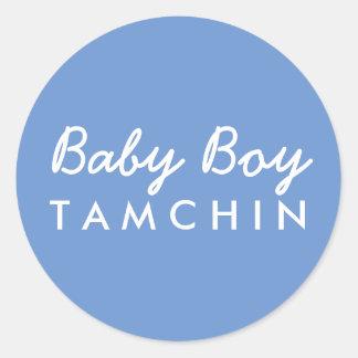 Baby Boy Last Name Baby Shower Sticker-Blue White Classic Round Sticker