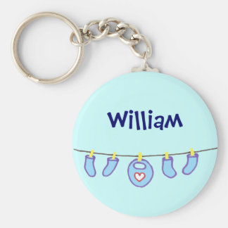 Baby Boy Laundry It's A Boy! Personalized Basic Round Button Keychain