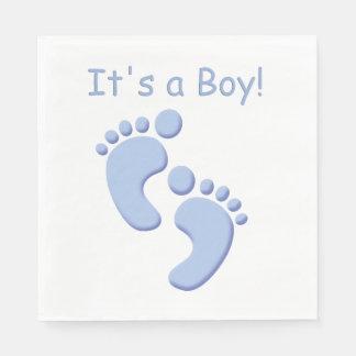 Baby Boy Little Feet Baby Shower Napkin