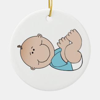 Baby Boy Lying Ceramic Ornament
