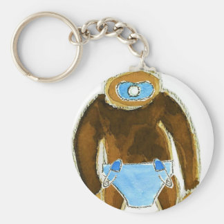 Baby Boy Monkey Diaper Basic Round Button Keychain