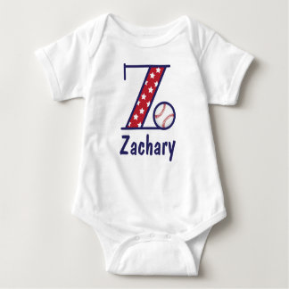 Baby Boy Monogram Bodysuit Baseball Shirt Z