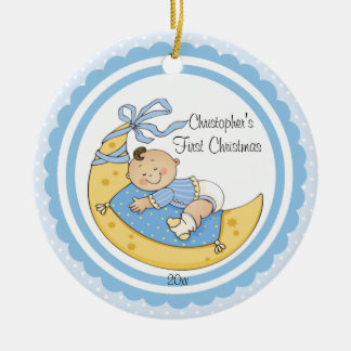 Baby Boy Moon Baby's First Christmas Ornament