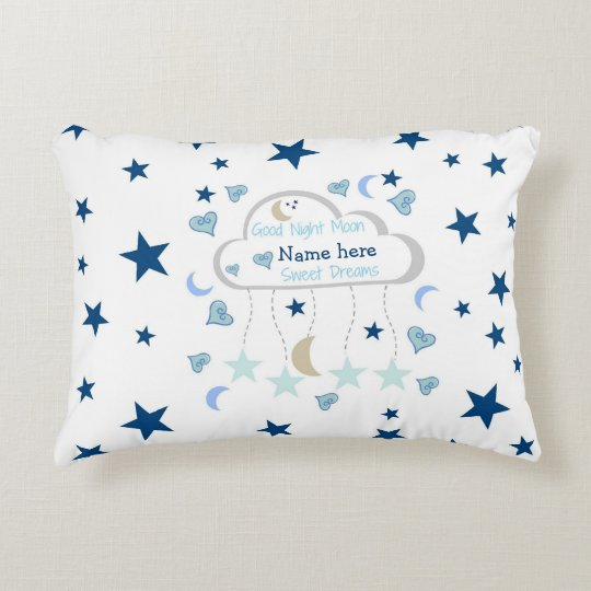 Baby Boy - Moon Stars Personalized Decorative Pillow