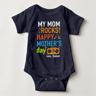 Baby Boy My Mom Rocks Happy Mothers Day Bodysuit