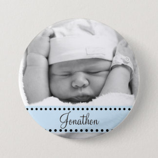 Baby Boy Name and  Photo Magnet Blue Personalized 3 Inch Round Button