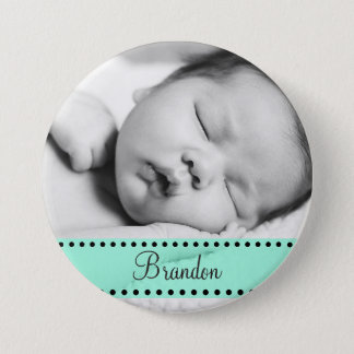 Baby Boy Name and  Photo Magnet GreenPersonalized 3 Inch Round Button
