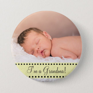 Baby Boy Name and Photo Magnet Yellow Personalized 3 Inch Round Button