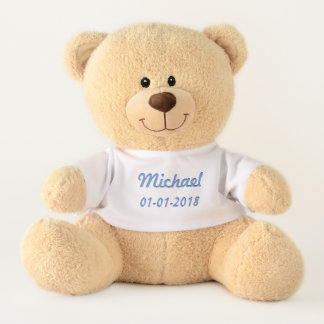 Baby Boy Name & Birth date Customizable Trendy Blu Teddy Bear