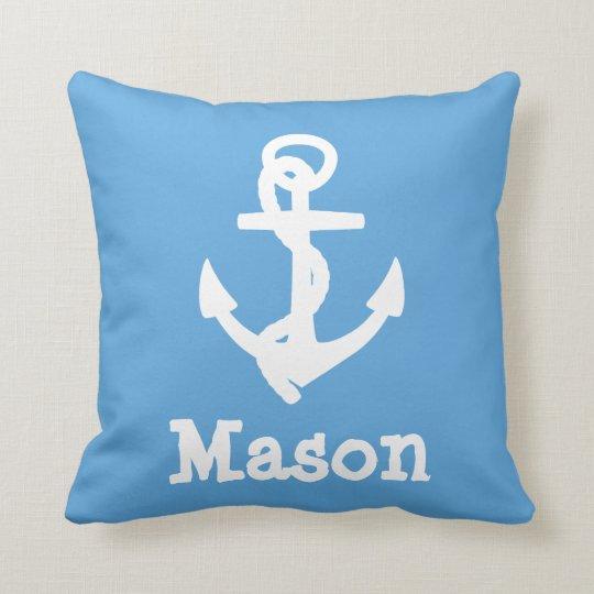 Baby Boy Nautical Blue Birth Stats Pillow