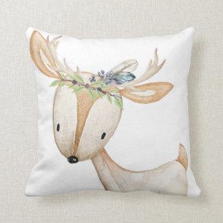 Baby Boy Nursery Feather Woodland Deer Pillow