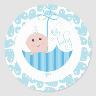 Baby Boy Oh Baby Shower umberella Sticker