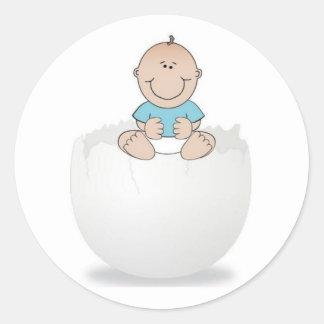 Baby Boy on Egg Classic Round Sticker