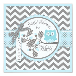 "Baby Boy Owl Chevron Print Baby Shower 5.25"" Square Invitation Card"