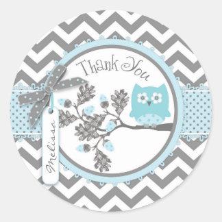 Baby Boy Owl Chevron Print Thank You Label Classic Round Sticker