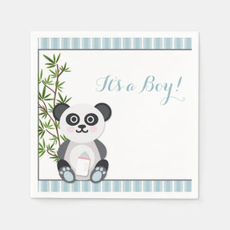 Baby Boy Panda, Stripes Paper Napkin