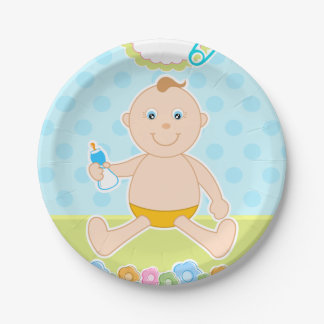 Baby Boy paper plate. 7 Inch Paper Plate
