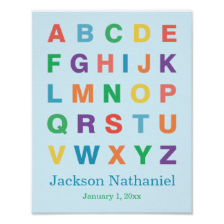 Baby Boy Personalized Alphabet Poster